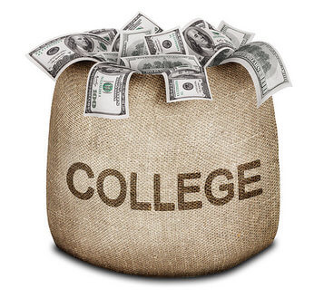 college money in a burlap bag